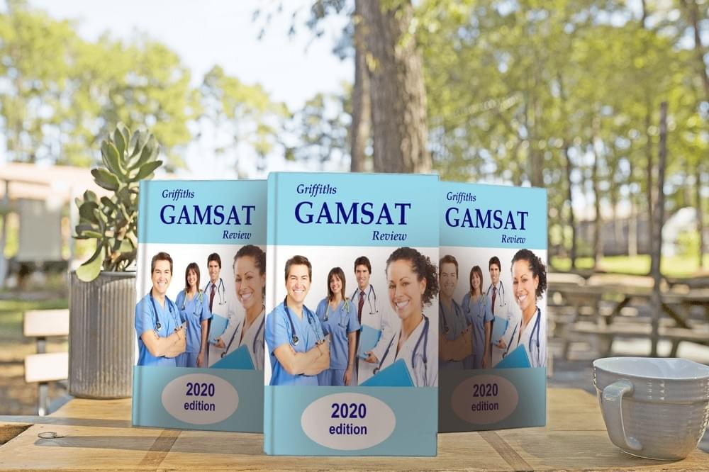 Gamsat books on table